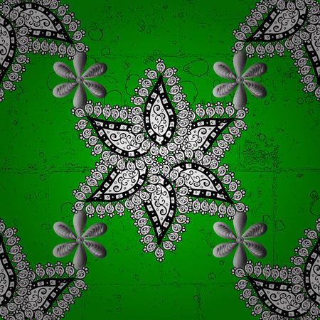 Abstract background. Oriental vector classic green and golden pattern.