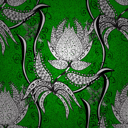Islamic design. Vector white textile print. Pattern oriental ornament. White pattern on green background with white elements. Floral tiles.