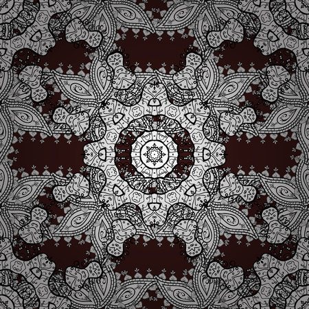 sumptuous: Vector illustration. Oriental vector classic brown and white pattern. Seamless abstract background.