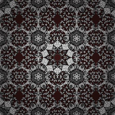 sumptuous: Graphic modern seamless pattern on brown background. Sketch baroque, damask. Seamless floral pattern. Seamless vector background. Illustration