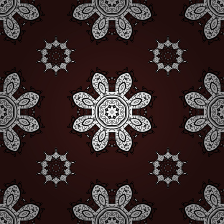 sumptuous: Vector seamless pattern on brown background with white elements. Damask seamless pattern for design.