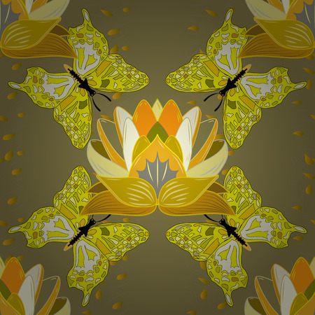 Trendy seamless floral pattern. Vector illustration with many flowers.