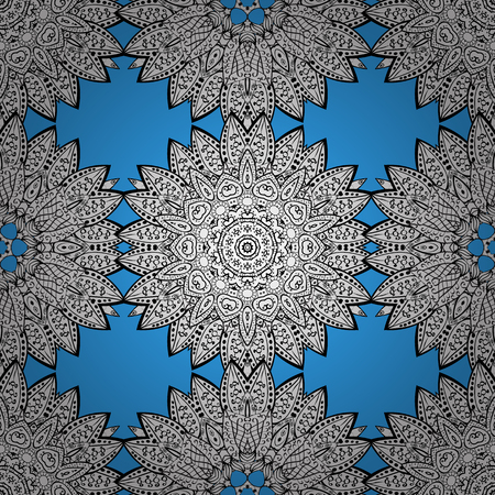 intertwined: Damask seamless pattern for design. Vector seamless pattern on blue background with white elements.
