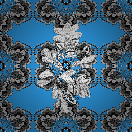 tissue paper art: White floral seamless pattern. Gray floral ornament in baroque style. White element on a blue background. Damask background. Illustration