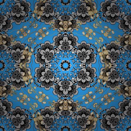 Islamic design. Floral tiles. Vector golden textile print. Golden pattern on blue background with golden elements. Seamless pattern oriental ornament. Ilustrace