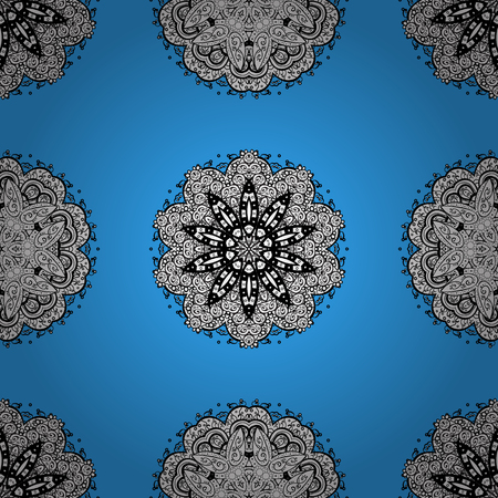 Gold blue floral ornament in baroque style. Gold Sketch on texture background. Damask seamless pattern repeating background. Golden element on blue background. Illustration