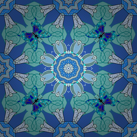 pied: Arabesque. Vector circular abstract mandalas pattern. Round ornament with intertwined branches, flowers and curls. Colored Mandala on a white baqckground.