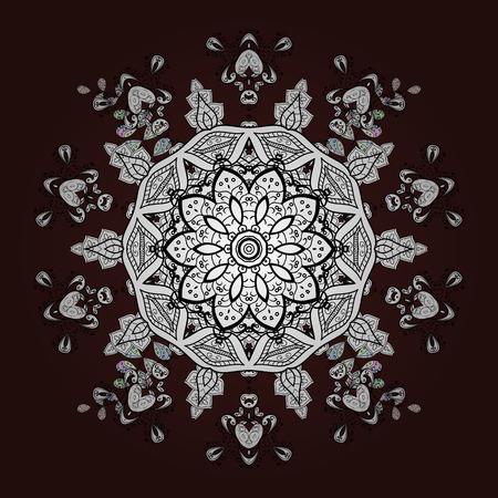 bleak: Floral pattern. Sketch baroque, damask. Vector background with white doodles. Graphic modern pattern.