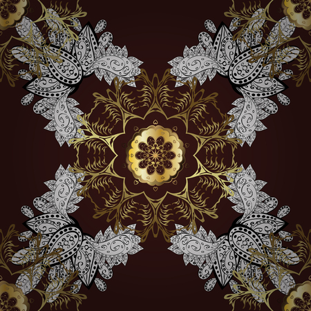 intertwined: Golden element on brown background. Vintage baroque floral seamless pattern in gold over brown. Luxury, royal and Victorian concept. Ornate vector decoration. Illustration