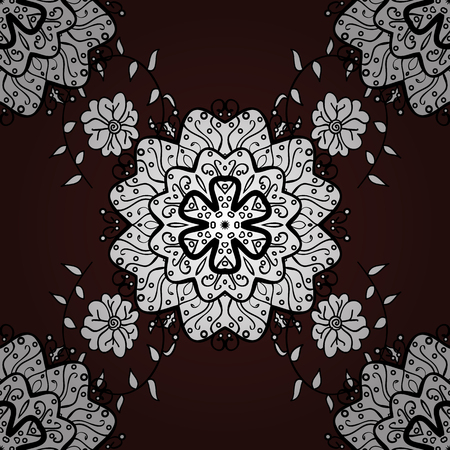 bleak: Vector seamless pattern with floral ornament. Ornamental lace tracery. Traditional arabic decor on brown background. Vintage design element in Eastern style. White ornate illustration for sketch.