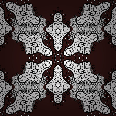 tissue paper art: Vintage seamless pattern on a brown background with white elements. Christmas 2018, snowflake, new year.