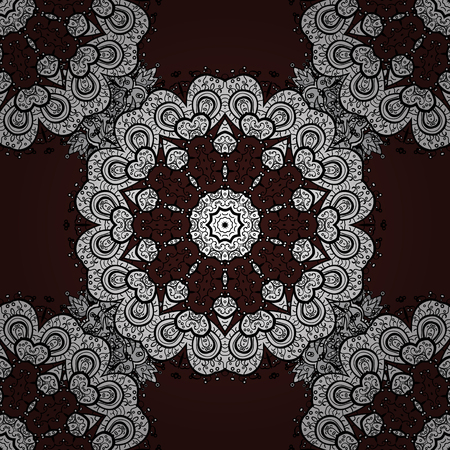 Carving. Luxury furniture. Small depth of field. Furniture in classic style. Patina. Pattern on brown background with white elements. Seamless element woodcarving. Brown backdrop with white trim. Illustration
