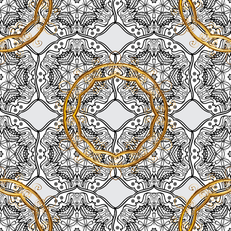 baroque border: Paisleys elegant floral vector seamless pattern background sketch illustration with vintage stylish beautiful modern 3d line art gold and gray paisley flowers, doodles, leaves and ornaments.