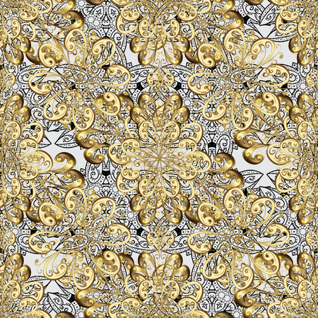 Carving. Gray tree with gold trim. Furniture in classic style. Pattern on gray background with golden elements. Seamless element woodcarving. Small depth of field. Patina. Luxury furniture.