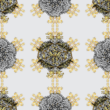 Christmas, snowflake, new year. Seamless vintage pattern on gray background with golden elements and with white doodles.