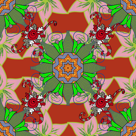 Multicolor ornament of small simple colorful flowers, vector abstract seamless pattern for fabric or textile design.