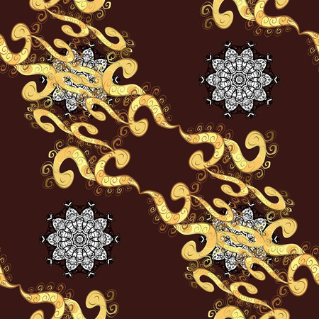 baroque border: Damask seamless ornament. Traditional vector and golden pattern. Classic oriental background with white doodles.