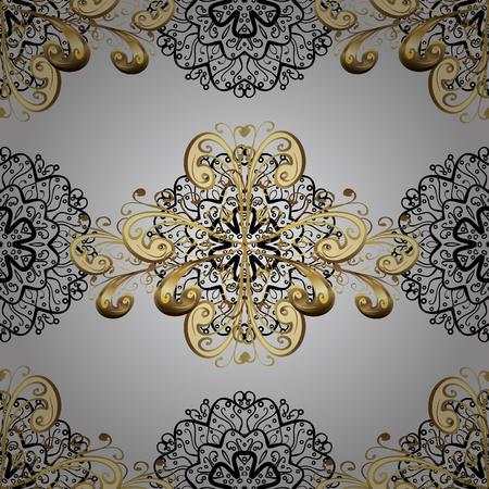 baroque border: Golden pattern on gray background with golden elements. Illustration