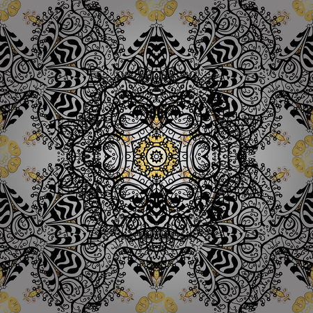 Seamless pattern on gray background with golden elements and with white doodles. Seamless Golden pattern. Vector oriental ornament.