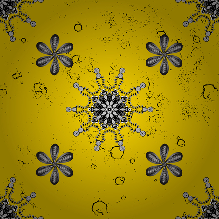 Classic vintage background. Pattern on yellow background with golden elements.