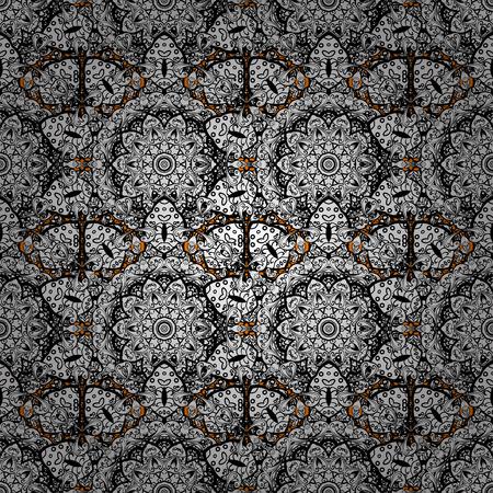 modish: Christmas white snowflake seamless pattern. Vintage snowflakes on white background. Winter snow texture sketch. Symbol holiday, New Year celebration vector white pattern.