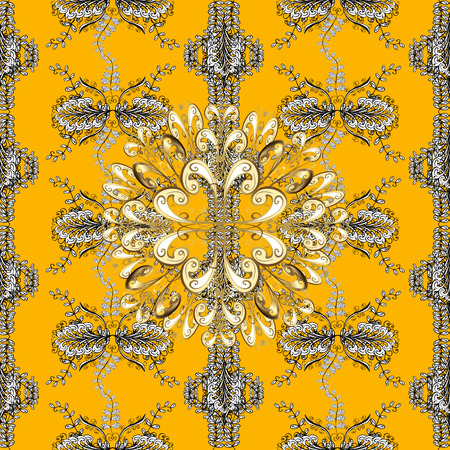 baroque border: Yellow background with golden elements.