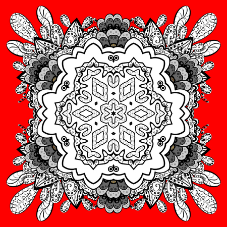 Classic vector pattern. Traditional orient ornament. Classic vintage background. White pattern on red and white background with elements. Illustration