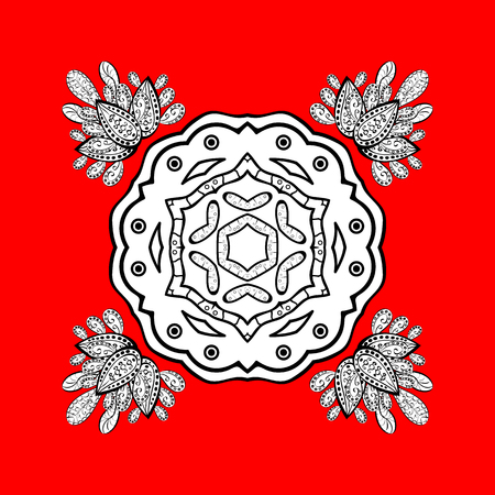 Damask pattern background for sketch design in the style of Baroque. White pattern on red and white background with white elements. Ornate vector decoration. Illustration