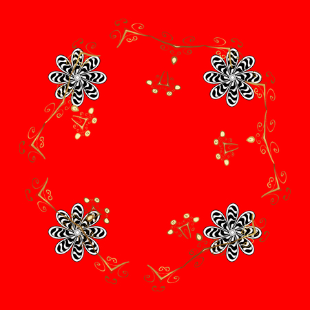 Winter holiday vector pattern with circles, dots and snowflakes on a red background with golden elements.