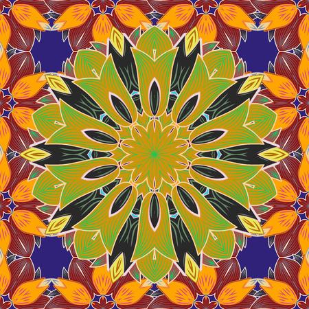 Mandala colorata su un baqckground. Ornamento rotondo con rami intrecciati, fiori e riccioli. Vettoriali