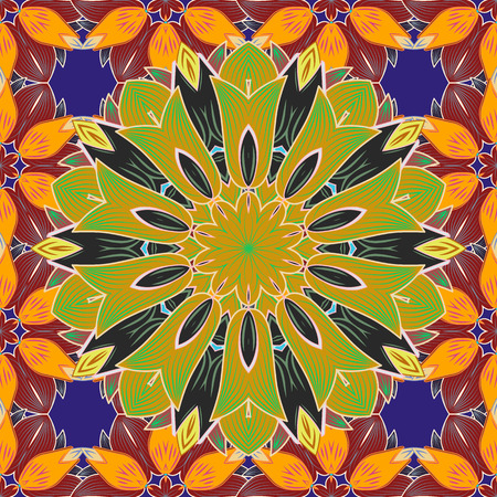 Colored Mandala on a baqckground. Round ornament with intertwined branches, flowers and curls. Illustration