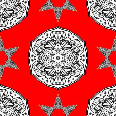 Seamless vintage pattern on red background with whiteen elements. Christmas, snowflake, new year. Golden seamless pattern on red background with white elements.