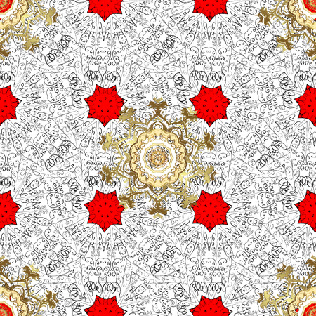 Classic vintage background. Seamless classic golden pattern. Traditional orient ornament. Golden pattern on red background with golden elements.