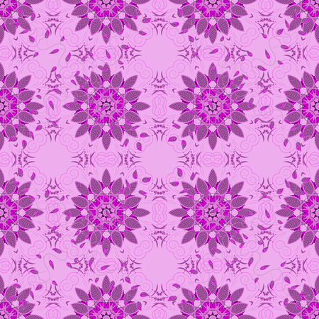 ethno: Tropical seamless pattern with many abstract flowers. Varicolored vector seamless illustration.