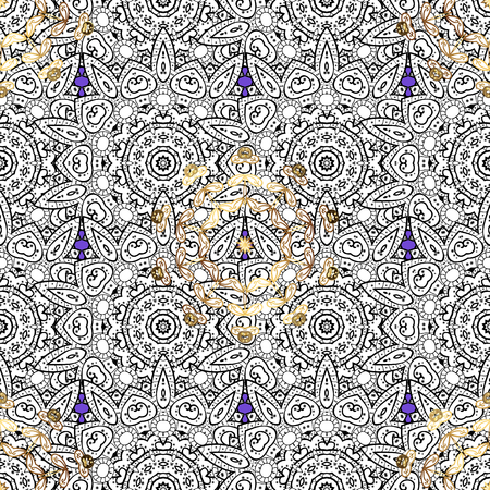 tillable: Golden pattern on background with golden elements. Seamless classic vector golden pattern. Classic vintage background. Traditional orient ornament.