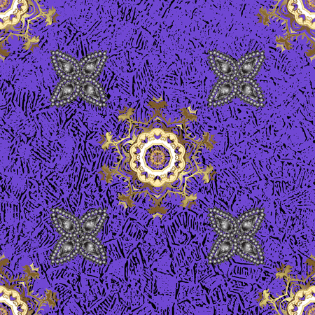 Vector illustration. Seamless oriental classic golden pattern. Vector abstract background with repeating elements on violet background. Illustration