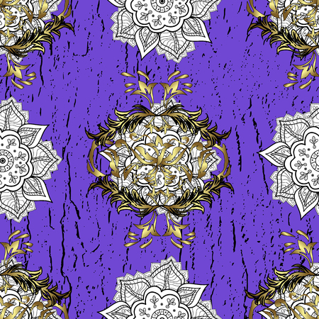 Seamless vintage pattern on violet background with golden elements and with white doodles. Christmas, snowflake, new year.