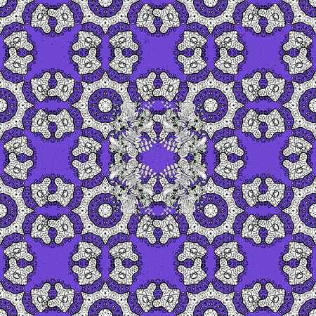 White textured curls. Vector white pattern. ?attern on violet background with white elements. Oriental style arabesques.