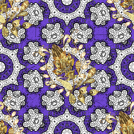 gold leafs: Golden element on violet background. Ornate vector decoration. Vintage baroque floral seamless pattern in gold over violet. Luxury, royal and Victorian concept.