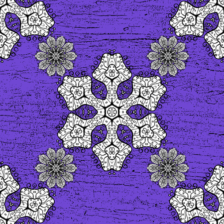 flourishing: White pattern on violet background with white elements. Ornate vector decoration. Damask pattern background for sketch design in the style of Baroque.