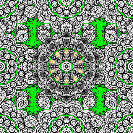 Pattern oriental ornament. Vector golden textile print. Islamic design. Floral tiles. Golden pattern on green background with golden elements.