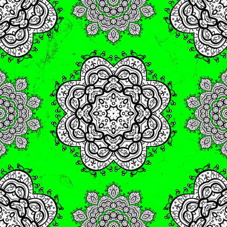 Oriental style arabesques. Vector. White texture curls. Brilliant lace, stylized flowers, paisley. ?attern on green background with white elements. Openwork delicate pattern.