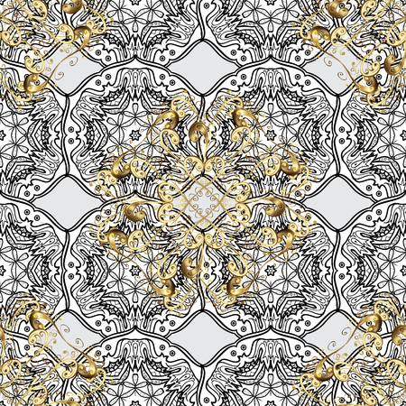 Seamless golden pattern. Vector oriental ornament. Golden pattern with white doodles on gray background with golden elements.