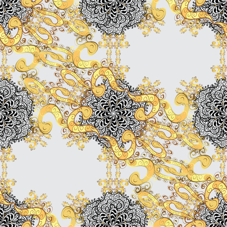 Seamless classic vector gray and golden pattern. Traditional orient ornament with white doodles. Classic vintage background.