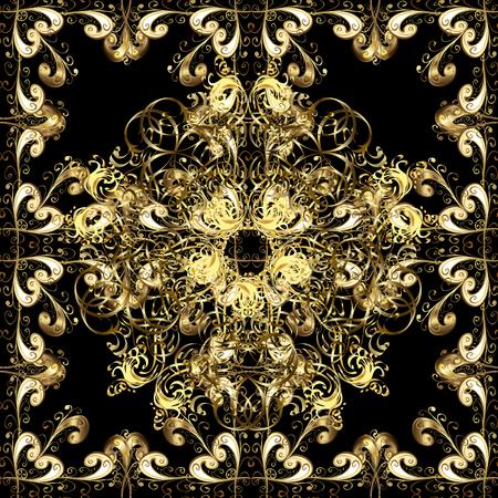 Naadloze gouden textuurkrullen. Arabische arabesken in de oosterse stijl. Briljant kant, gestileerde bloemen, paisley. Opengewerkte delicate gouden patroon. Naadloos patroon op zwarte achtergrond met gouden elementen. Vector Stock Illustratie