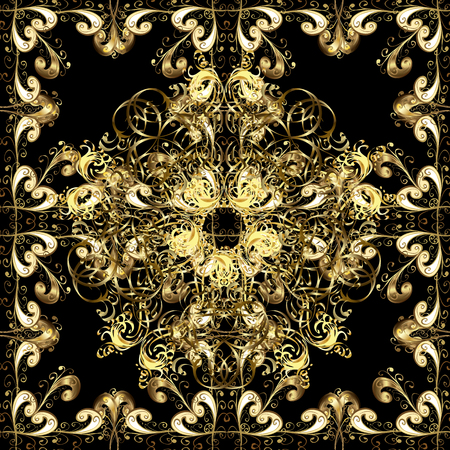 Seamless golden texture curls. Oriental style arabesques. Brilliant lace, stylized flowers, paisley. Openwork delicate golden pattern. Seamless pattern on black background with golden elements. Vector
