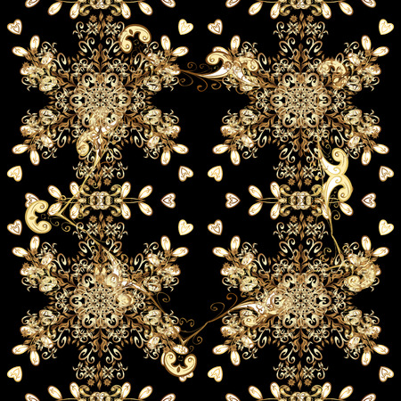 royal wedding: Vector traditional classic golden seamless pattern on black background. Seamless oriental ornament in the style of baroque.