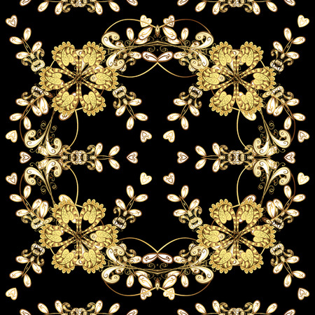 baroque border: Christmas, snowflake, new year 2018. Seamless vintage pattern on black background with golden elements.