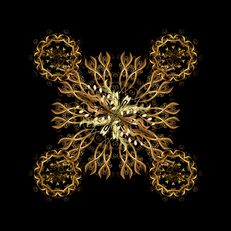 Golden snowflakes winter New Year frame in golden colors. Vector illustration.