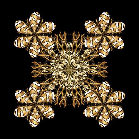 Inverno vettore cornice con arabeschi, doodles e fiocchi di neve dorati. Biglietto d'auguri bello. Ornamento isolato su sfondo nero.